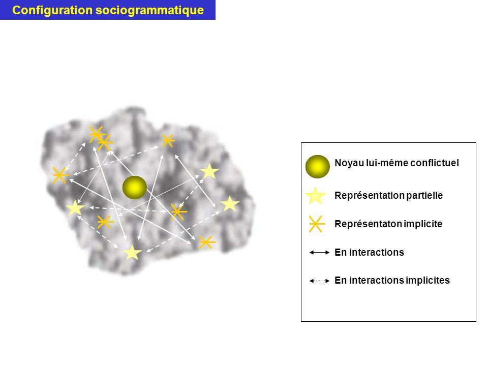 Noyau lui-même conflictuel Représentation partielle Représentaton implicite En interactions En interactions implicites Configuration sociogrammatique