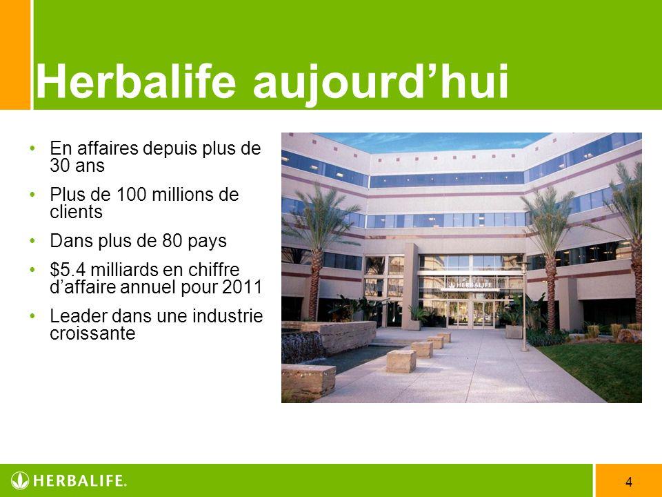 4 Herbalife aujourdhui En affaires depuis plus de 30 ans Plus de 100 millions de clients Dans plus de 80 pays $5.4 milliards en chiffre daffaire annue