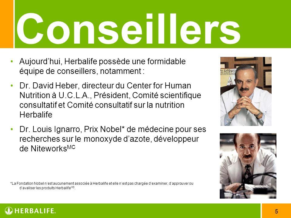 5 Conseillers Aujourdhui, Herbalife possède une formidable équipe de conseillers, notamment : Dr. David Heber, directeur du Center for Human Nutrition
