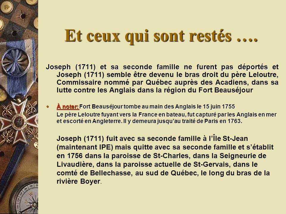 Joseph (1711) et sa seconde famille ne furent pas déportés Joseph (1711) et sa seconde famille ne furent pas déportés et Joseph (1711) semble être dev