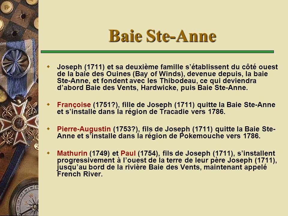 Baie Ste-Anne Joseph (1711) et sa deuxième famille sétablissent du côté ouest de la baie des Ouines (Bay of Winds), devenue depuis, la baie Ste-Anne,
