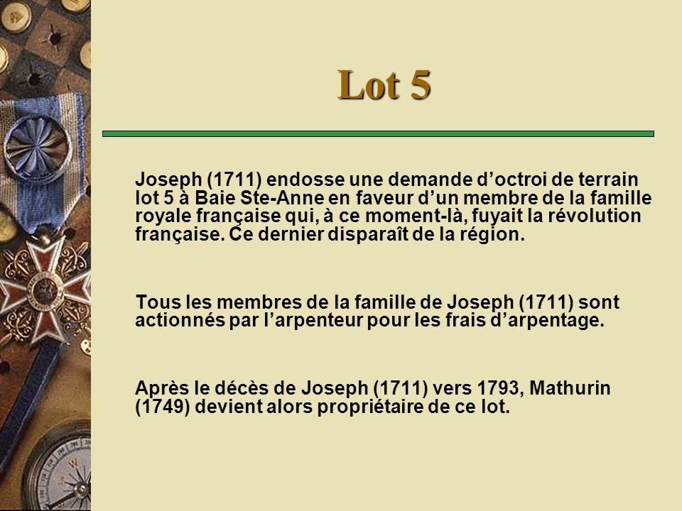 Lot 5 Joseph (1711) endosse une demande doctroi de terrain lot 5 à Baie Ste-Anne en faveur dun membre de la famille royale française qui, à ce moment-