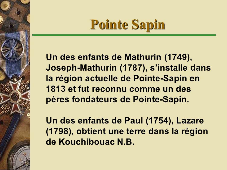 Pointe Sapin Un des enfants de Mathurin (1749), Joseph-Mathurin (1787), sinstalle dans la région actuelle de Pointe-Sapin en 1813 et fut reconnu comme