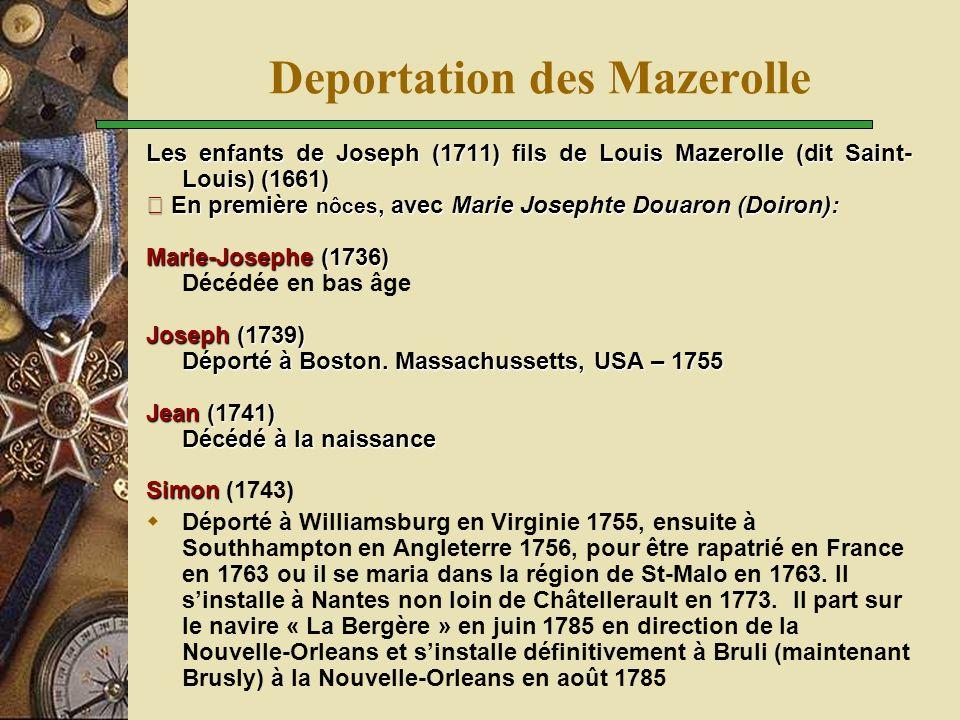 Enfants de Joseph (1711) fils de Louis Mazerolle (dit Saint- Louis) (1661) En deuxième nôces avec Anne Daigle, ils eurent quatre enfants: Mathurin (1749) Mathurin (1749) Françoise (1751) Françoise (1751) Pierre (1753) Pierre (1753) Paul (1754) Paul (1754) Et ceux qui sont restés ….