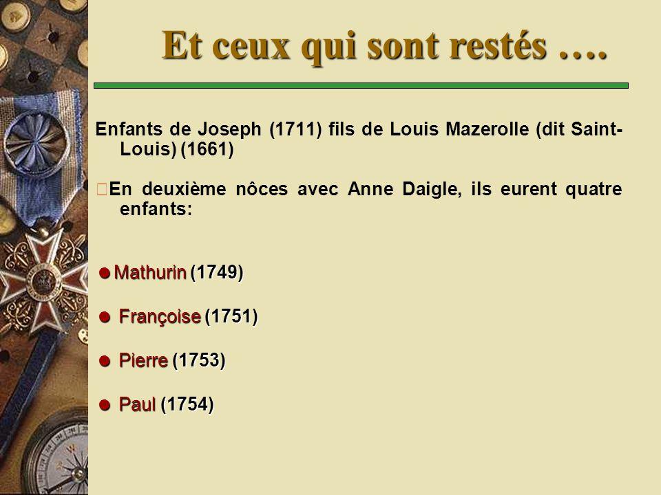 Enfants de Joseph (1711) fils de Louis Mazerolle (dit Saint- Louis) (1661) En deuxième nôces avec Anne Daigle, ils eurent quatre enfants: Mathurin (1