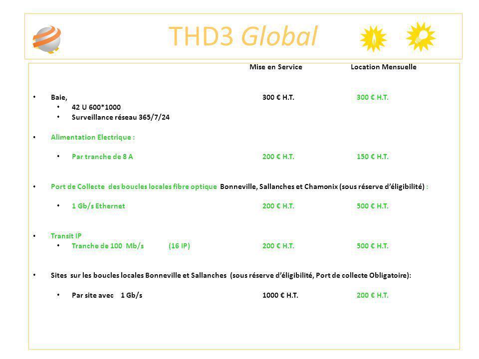 THD3 Global Mise en Service Location Mensuelle Baie, 300 H.T. 300 H.T. 42 U 600*1000 Surveillance réseau 365/7/24 Alimentation Electrique : Par tranch