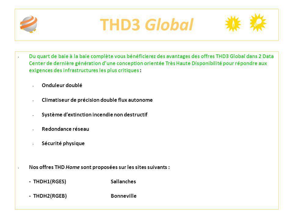 THD3 Global Du quart de baie à la baie complète vous bénéficierez des avantages des offres THD3 Global dans 2 Data Center de dernière génération dune