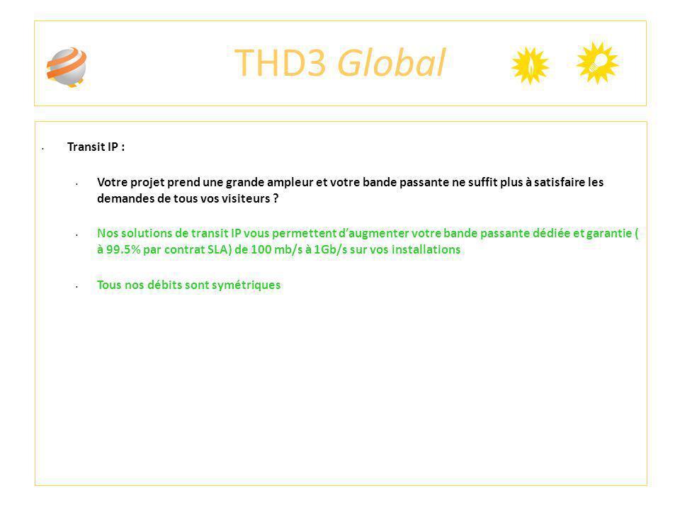 THD3 Global Transit IP : Votre projet prend une grande ampleur et votre bande passante ne suffit plus à satisfaire les demandes de tous vos visiteurs