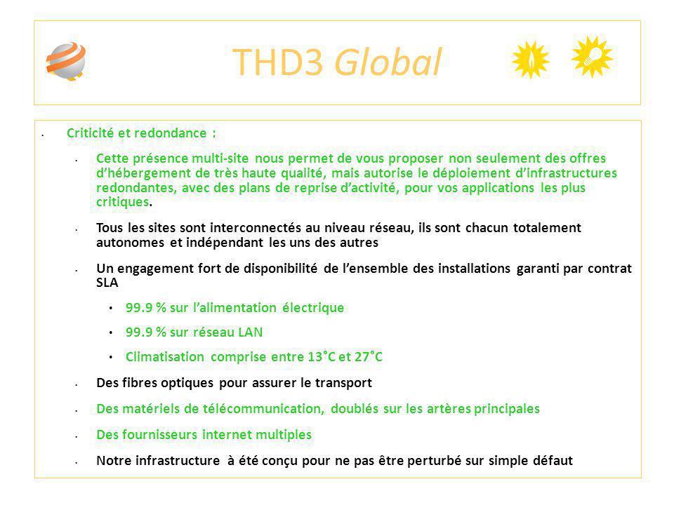 THD3 Global Criticité et redondance : Cette présence multi-site nous permet de vous proposer non seulement des offres dhébergement de très haute quali