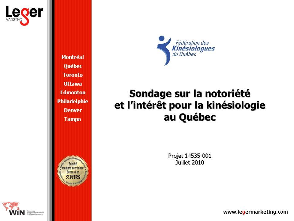 www.legermarketing.com Sondage sur la notoriété et lintérêt pour la kinésiologie au Québec Projet 14535-001 Juillet 2010 Montréal Québec Toronto Ottaw
