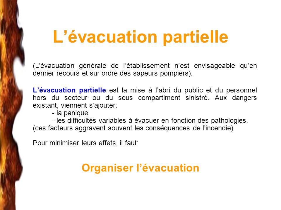 Lévacuation partielle (Lévacuation générale de létablissement nest envisageable quen dernier recours et sur ordre des sapeurs pompiers). Lévacuation p