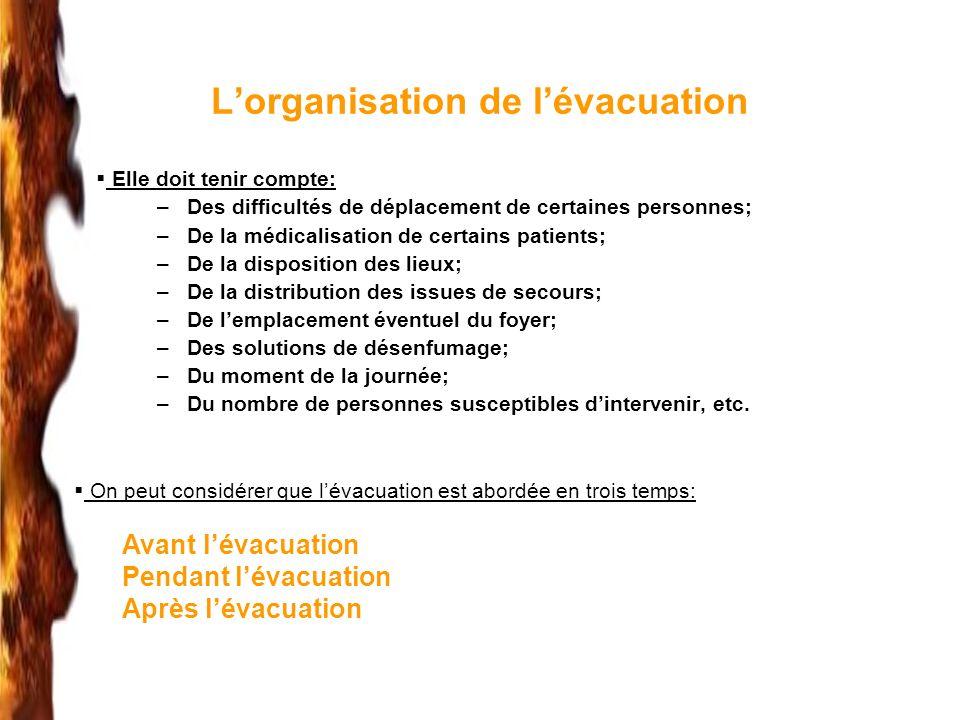 Lorganisation de lévacuation Elle doit tenir compte: –Des difficultés de déplacement de certaines personnes; –De la médicalisation de certains patient