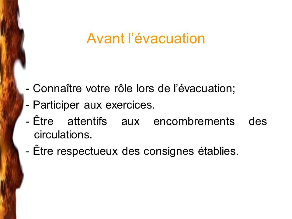 Avant lévacuation - Connaître votre rôle lors de lévacuation; - Participer aux exercices. - Être attentifs aux encombrements des circulations. - Être