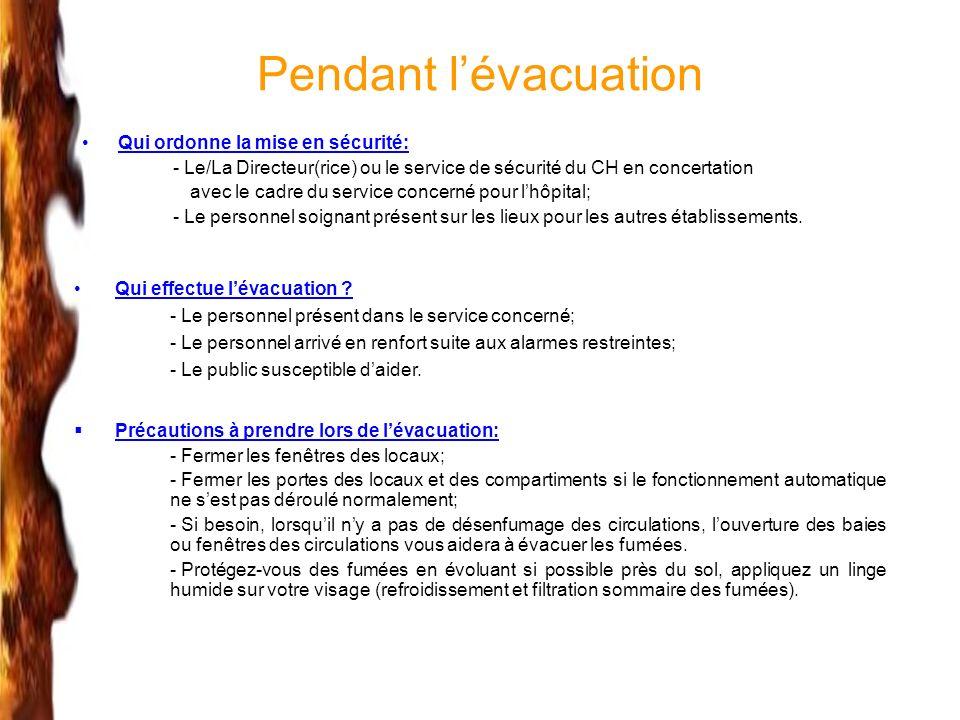 Pendant lévacuation Qui ordonne la mise en sécurité: - Le/La Directeur(rice) ou le service de sécurité du CH en concertation avec le cadre du service