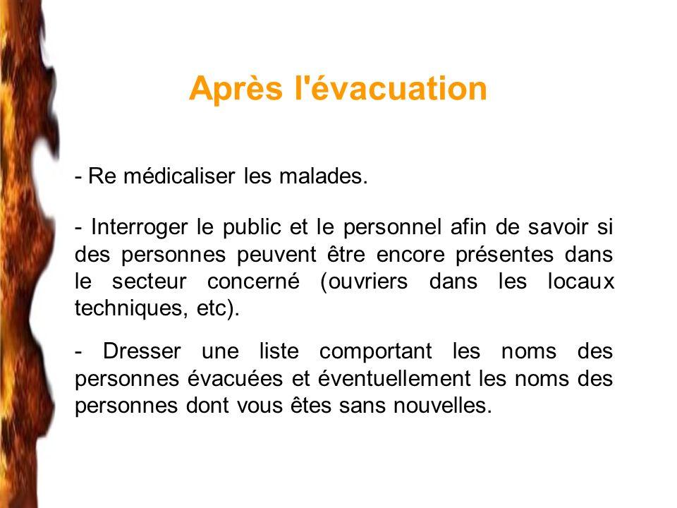 Après l'évacuation - Re médicaliser les malades. - Interroger le public et le personnel afin de savoir si des personnes peuvent être encore présentes