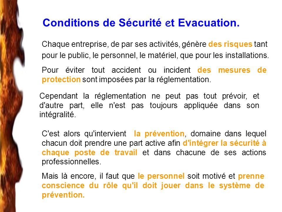Conditions de Sécurité e t Evacuation. Chaque entreprise, de par ses activités, génère des risques tant pour le public, le personnel, le matériel, que
