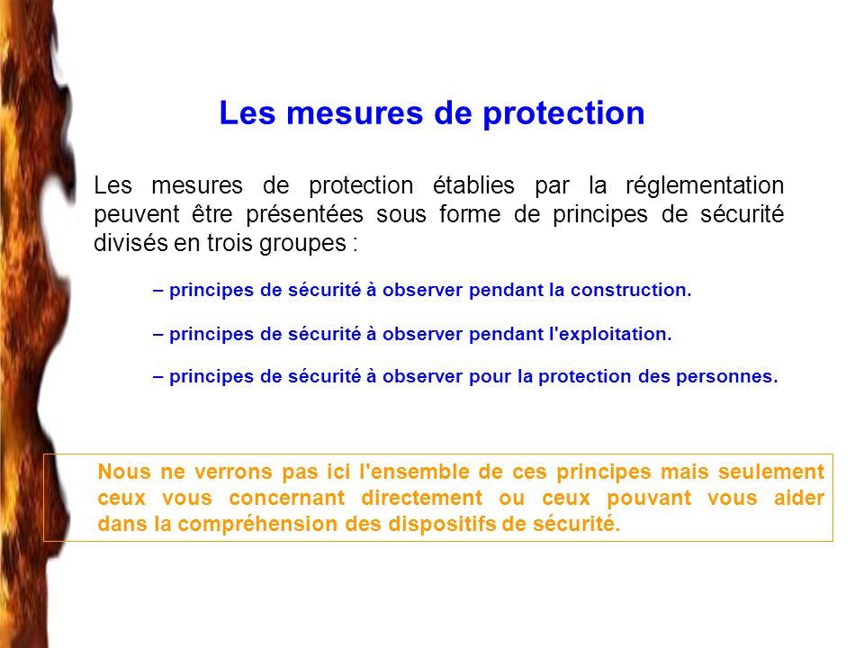 Les mesures de protection Les mesures de protection établies par la réglementation peuvent être présentées sous forme de principes de sécurité divisés