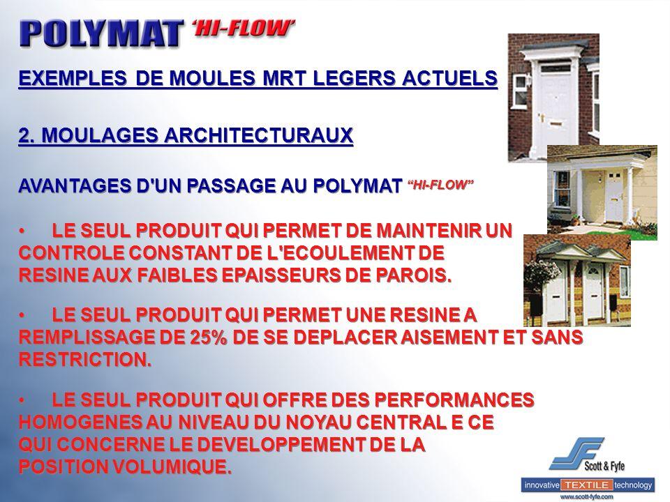 EXEMPLES DE MOULES MRT LEGERS ACTUELS 2. MOULAGES ARCHITECTURAUX AVANTAGES D'UN PASSAGE AU POLYMAT HI-FLOW LE SEUL PRODUIT QUI PERMET DE MAINTENIR UN