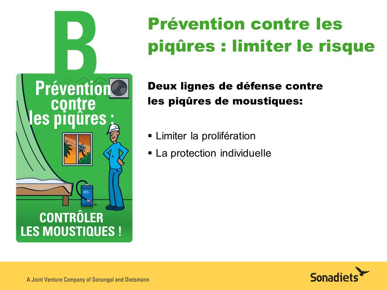 Prévention contre les piqûres : limiter le risque Deux lignes de défense contre les piqûres de moustiques: Limiter la prolifération La protection indi