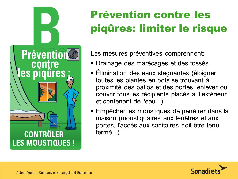 Prévention contre les piqûres: limiter le risque Les mesures préventives comprennent: Drainage des marécages et des fossés Élimination des eaux stagna