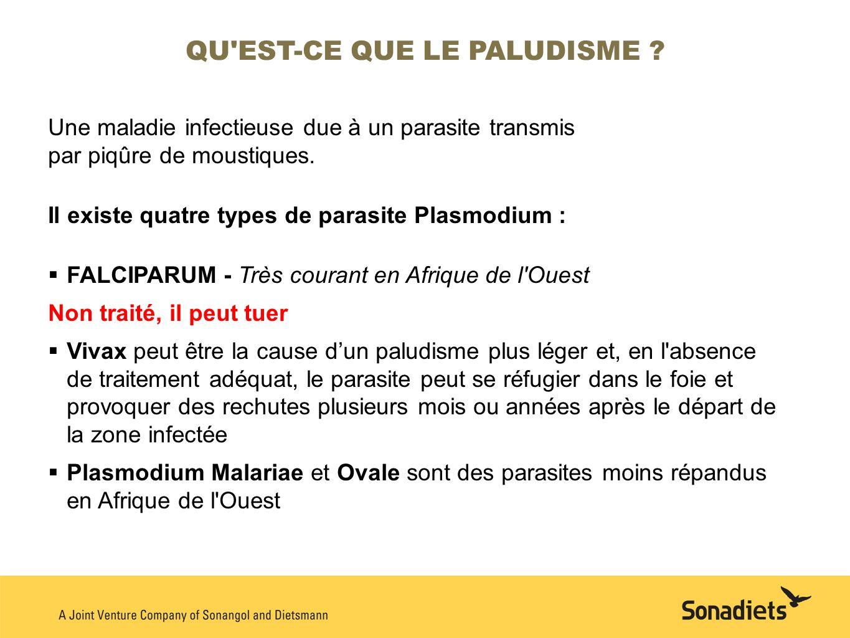 Une maladie infectieuse due à un parasite transmis par piqûre de moustiques. Il existe quatre types de parasite Plasmodium : FALCIPARUM - Très courant