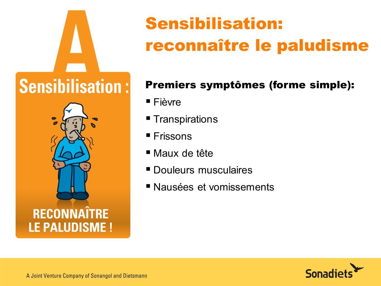 Sensibilisation: reconnaître le paludisme Premiers symptômes (forme simple): Fièvre Transpirations Frissons Maux de tête Douleurs musculaires Nausées