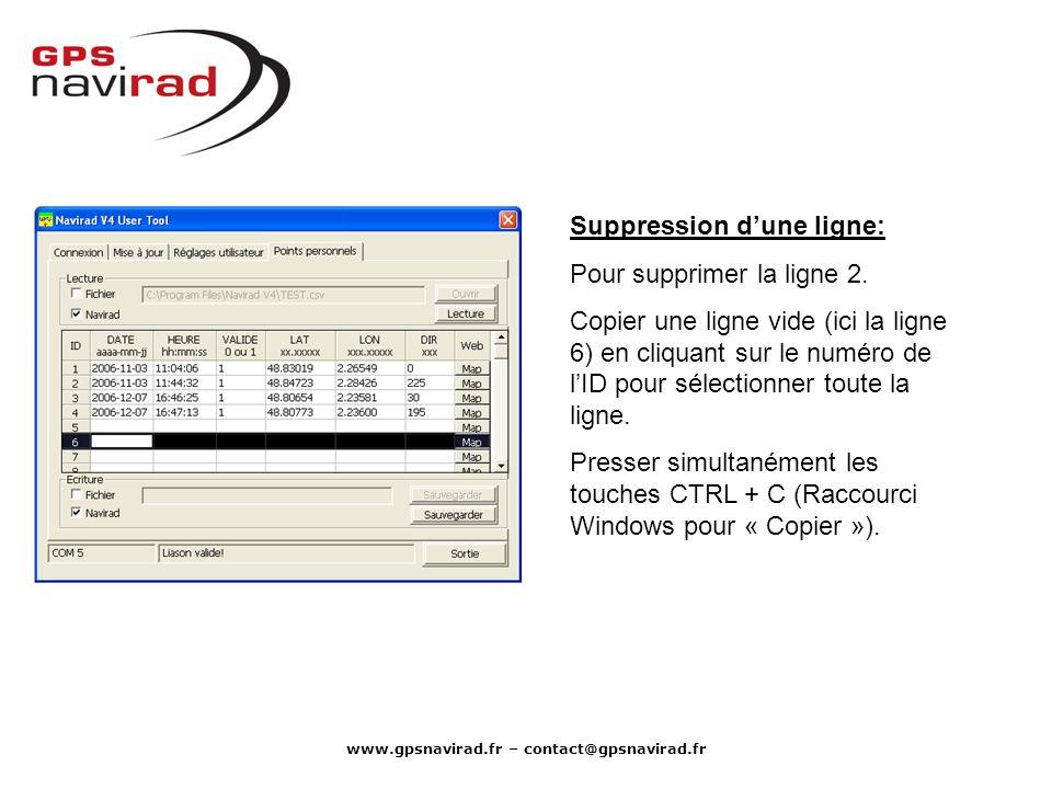 www.gpsnavirad.fr – contact@gpsnavirad.fr Suppression dune ligne: Pour supprimer la ligne 2. Copier une ligne vide (ici la ligne 6) en cliquant sur le