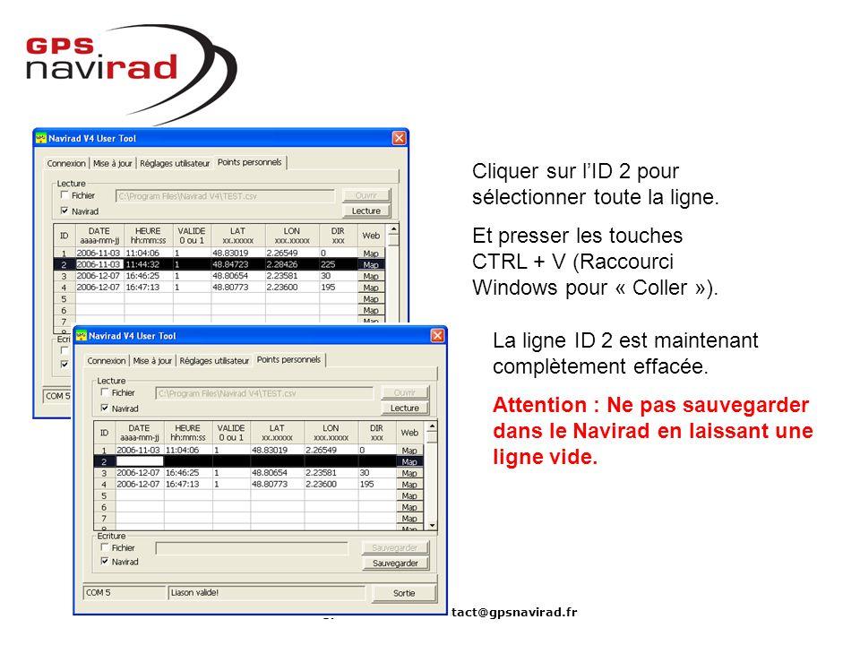 www.gpsnavirad.fr – contact@gpsnavirad.fr Cliquer sur lID 2 pour sélectionner toute la ligne. Et presser les touches CTRL + V (Raccourci Windows pour