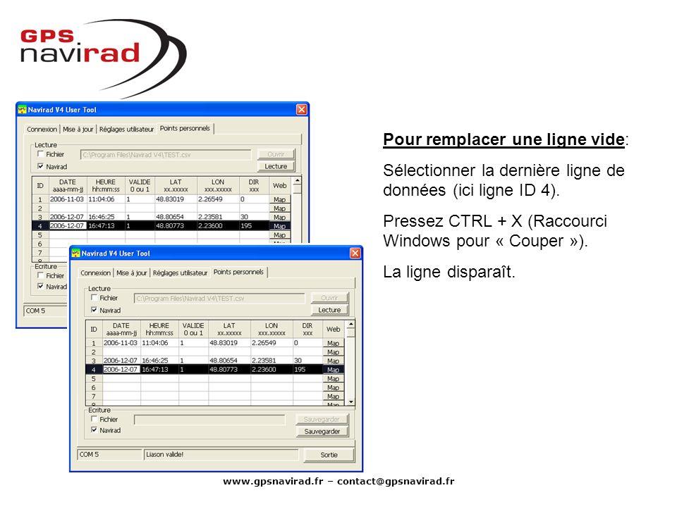 www.gpsnavirad.fr – contact@gpsnavirad.fr Pour remplacer une ligne vide: Sélectionner la dernière ligne de données (ici ligne ID 4). Pressez CTRL + X