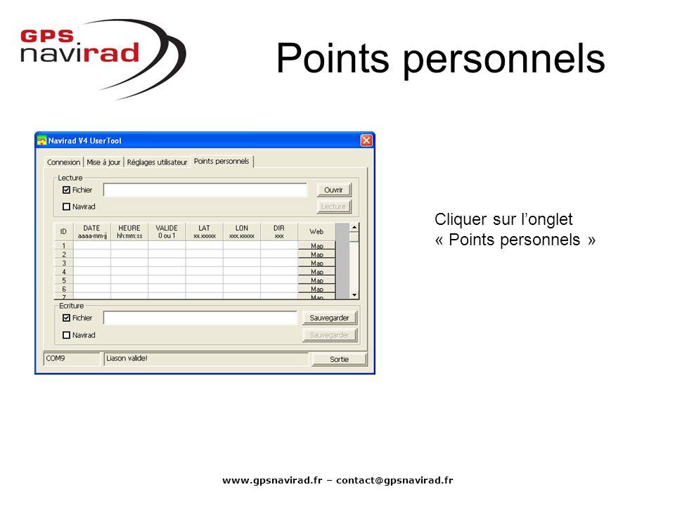 www.gpsnavirad.fr – contact@gpsnavirad.fr Points personnels Cliquer sur longlet « Points personnels »