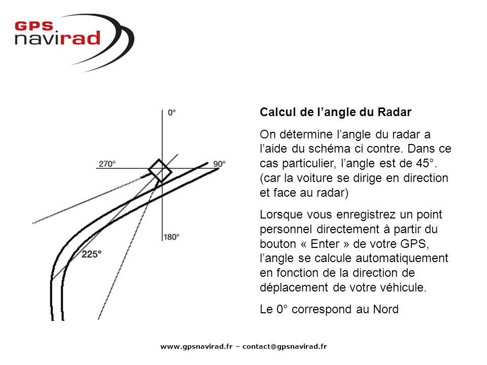 www.gpsnavirad.fr – contact@gpsnavirad.fr Calcul de langle du Radar On détermine langle du radar a laide du schéma ci contre. Dans ce cas particulier,