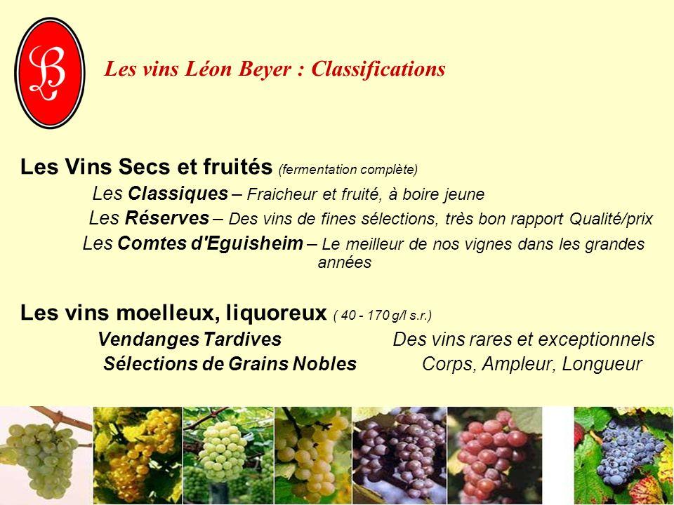 Les vins Léon Beyer : Classifications Les Vins Secs et fruités (fermentation complète) Les Classiques – Fraicheur et fruité, à boire jeune Les Réserve