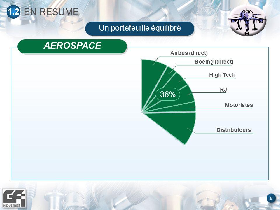 5 EN RESUME 1.2 Airbus (direct) Boeing (direct) High Tech RJ Motoristes Distributeurs 36% AEROSPACE Un portefeuille équilibré