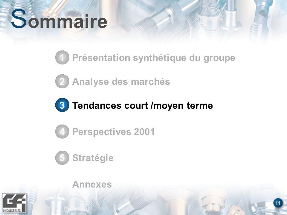 11 S ommaire Présentation synthétique du groupe1 Stratégie5 Annexes Analyse des marchés2 Tendances court /moyen terme3 Perspectives 20014 Tendances co