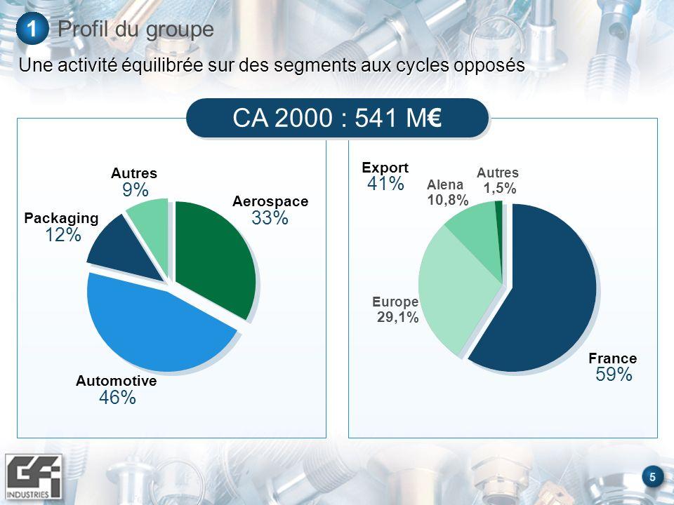 6 Profil du groupe1 Une croissance significative en 2001 Aerospace 31% Automotive 49% Packaging 11% Autres 9% Export 44% France 56% Autres 1,5% Alena 10,5% Europe 33,5% CA T1 2001 : 164 M : + 27,2 %