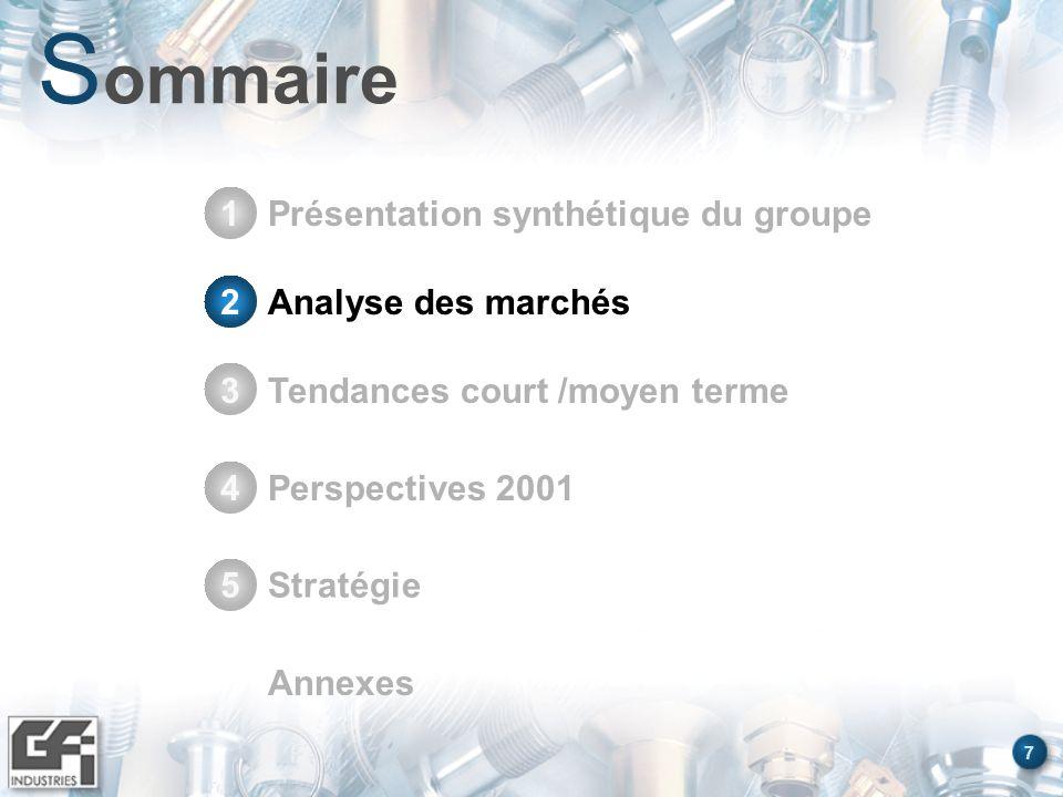 7 S ommaire Présentation synthétique du groupe1 Stratégie5 Annexes Analyse des marchés2 Tendances court /moyen terme3 Perspectives 20014 Analyse des m