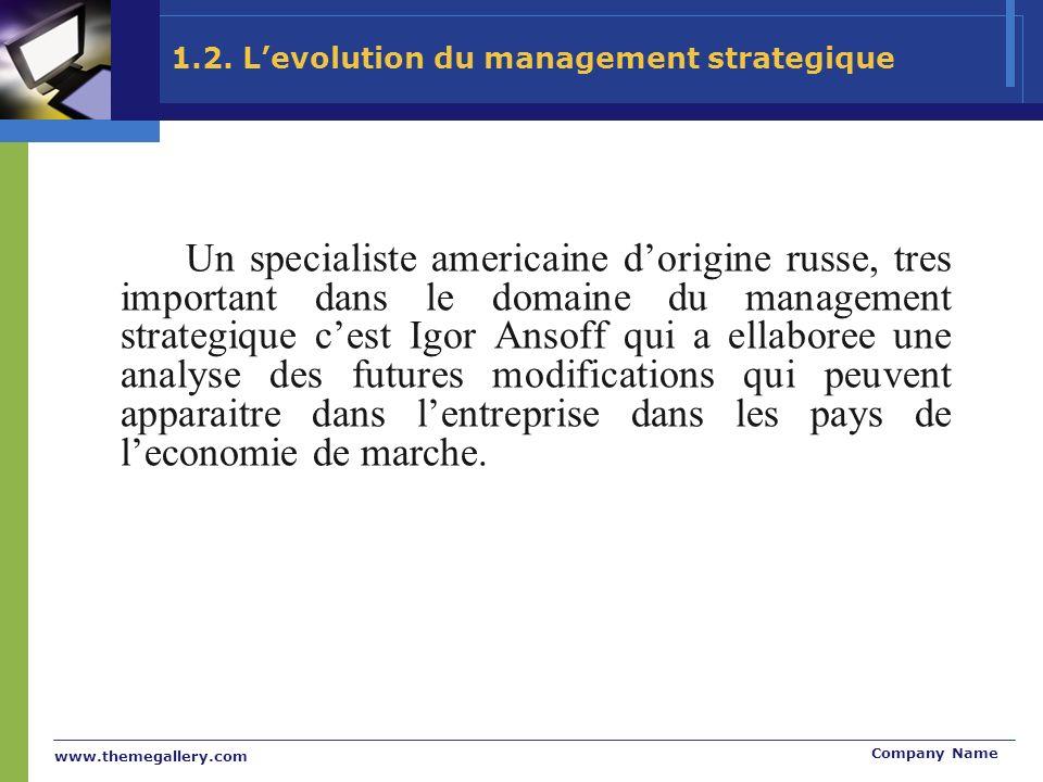 www.themegallery.com Company Name 1.2. Levolution du management strategique Un specialiste americaine dorigine russe, tres important dans le domaine d