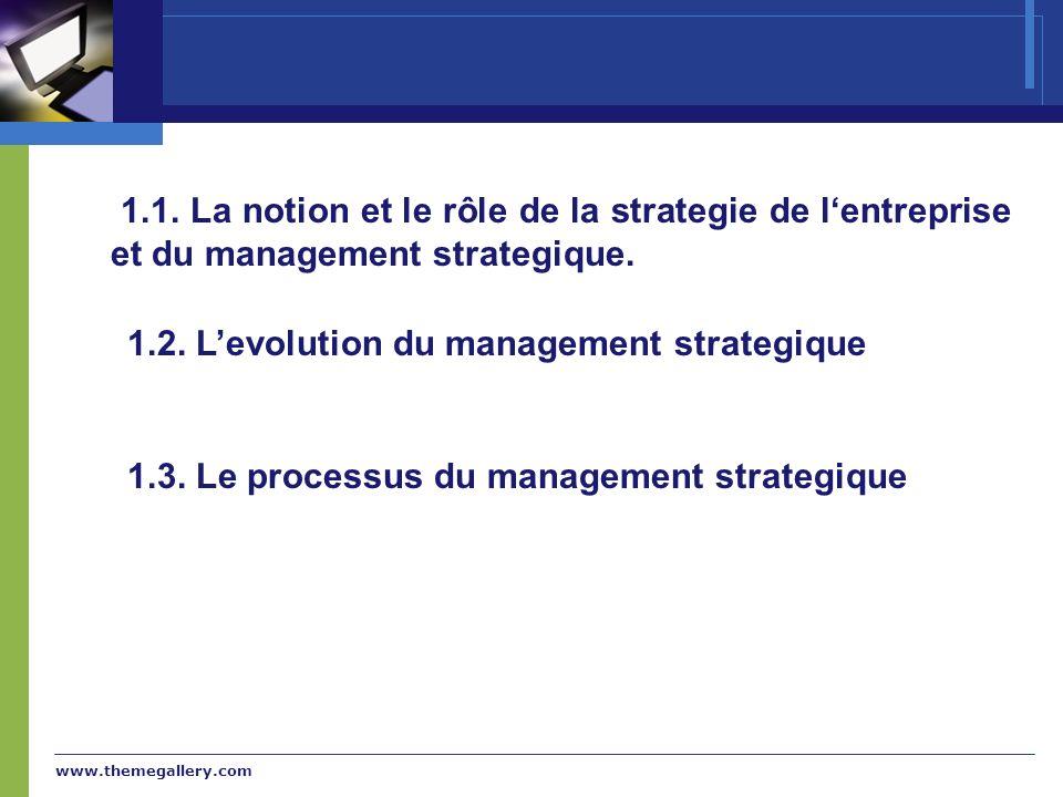 www.themegallery.com 1.1. La notion et le rôle de la strategie de lentreprise et du management strategique. 1.2. Levolution du management strategique