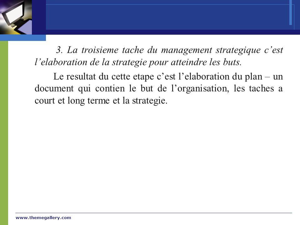 www.themegallery.com 3. La troisieme tache du management strategique cest lelaboration de la strategie pour atteindre les buts. Le resultat du cette e