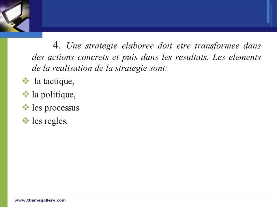 www.themegallery.com 4. Une strategie elaboree doit etre transformee dans des actions concrets et puis dans les resultats. Les elements de la realisat