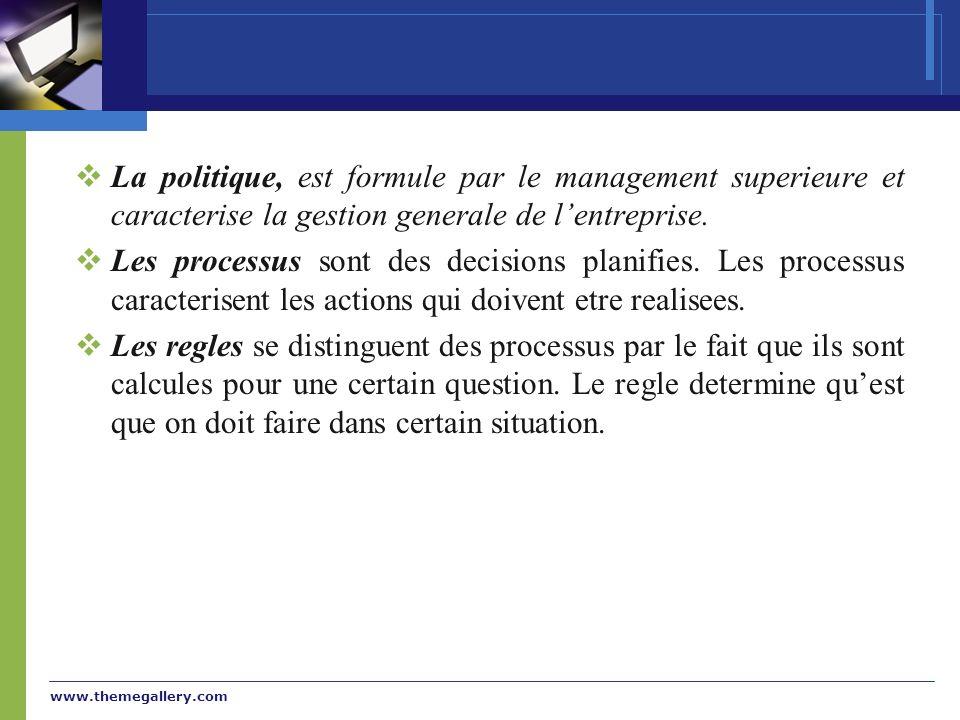 www.themegallery.com La politique, est formule par le management superieure et caracterise la gestion generale de lentreprise. Les processus sont des