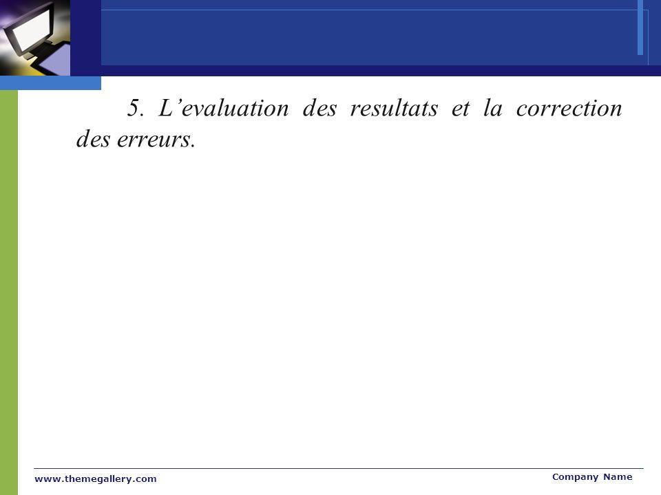 www.themegallery.com Company Name 5. Levaluation des resultats et la correction des erreurs.