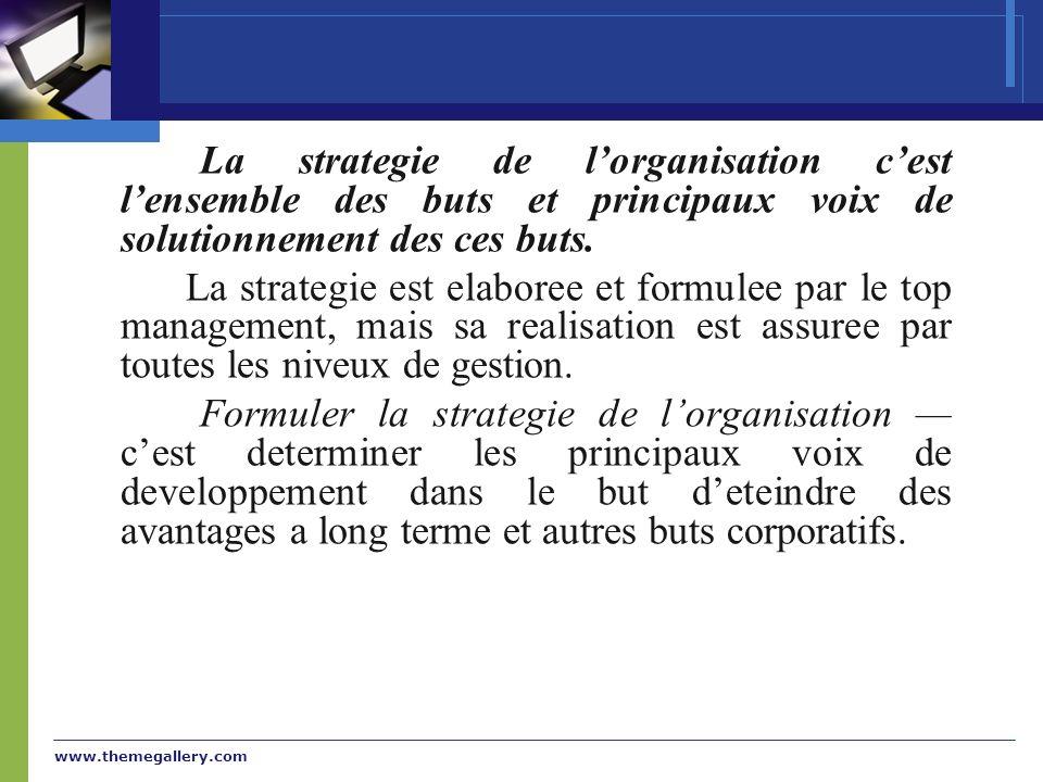 www.themegallery.com La strategie de lorganisation cest lensemble des buts et principaux voix de solutionnement des ces buts. La strategie est elabore