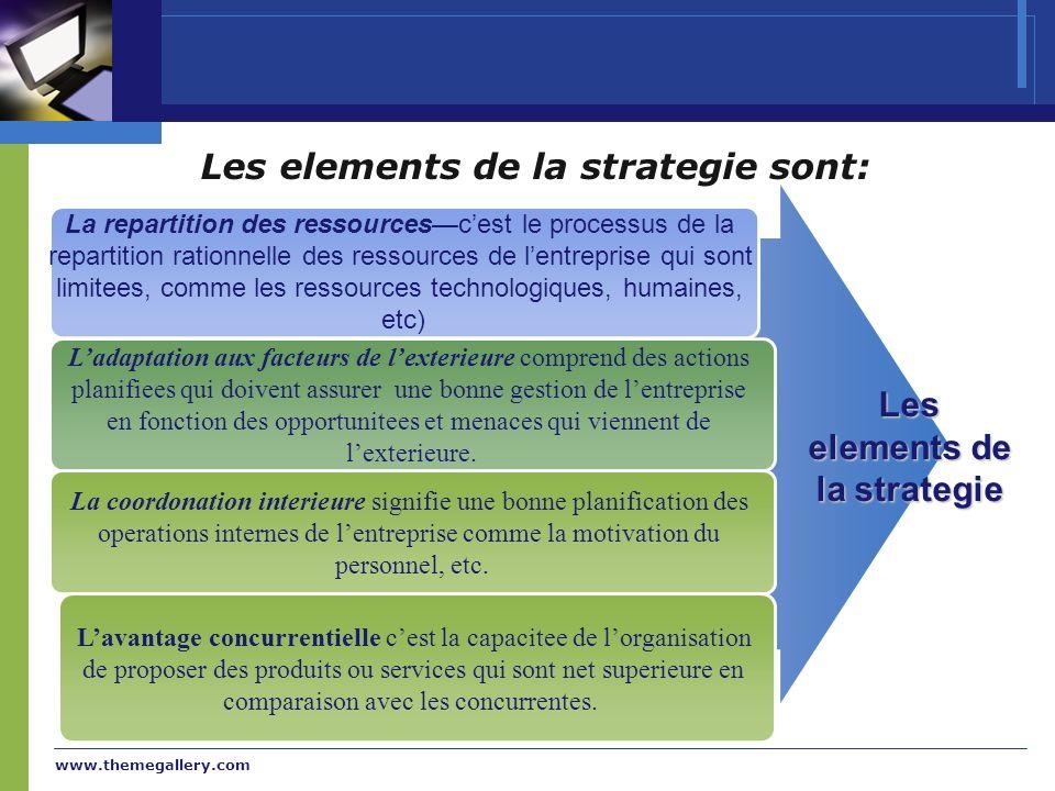 www.themegallery.com Les elements de la strategie sont: La repartition des ressourcescest le processus de la repartition rationnelle des ressources de