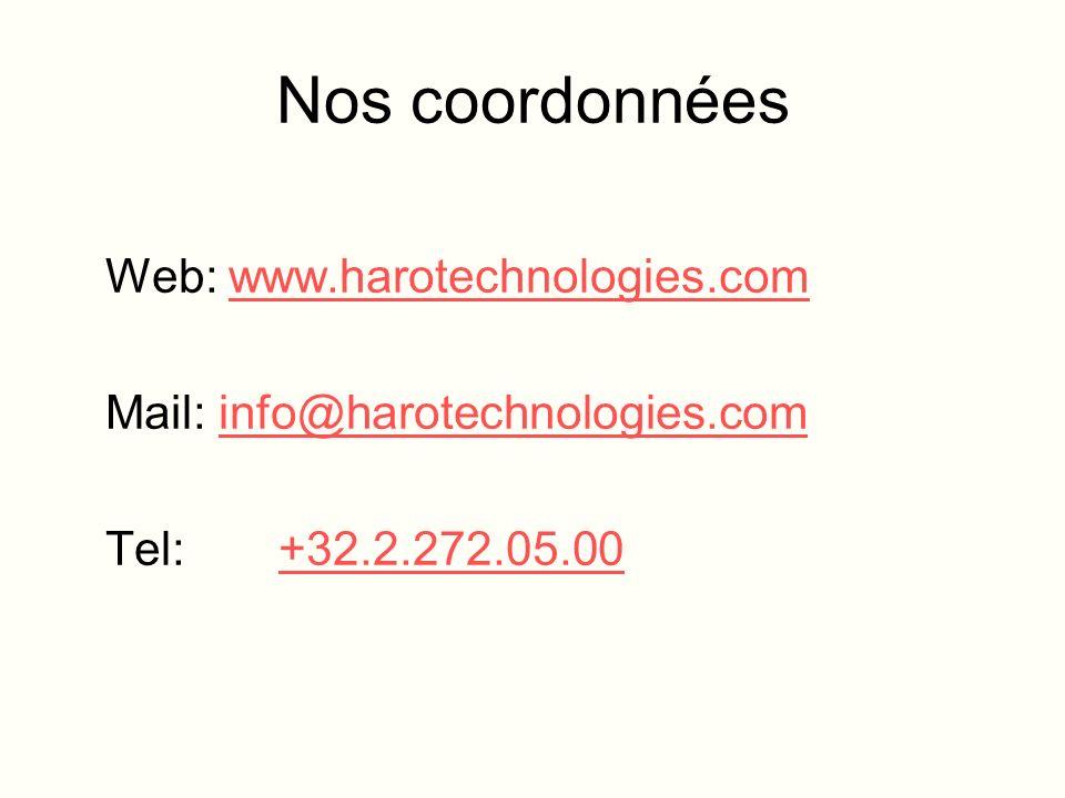 Nos coordonnées Web: www.harotechnologies.comwww.harotechnologies.com Mail: info@harotechnologies.cominfo@harotechnologies.com Tel: +32.2.272.05.00
