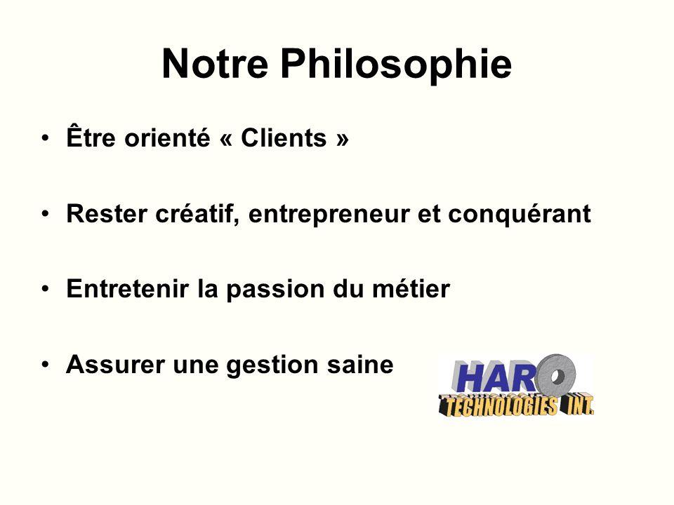 Notre Philosophie Être orienté « Clients » Rester créatif, entrepreneur et conquérant Entretenir la passion du métier Assurer une gestion saine