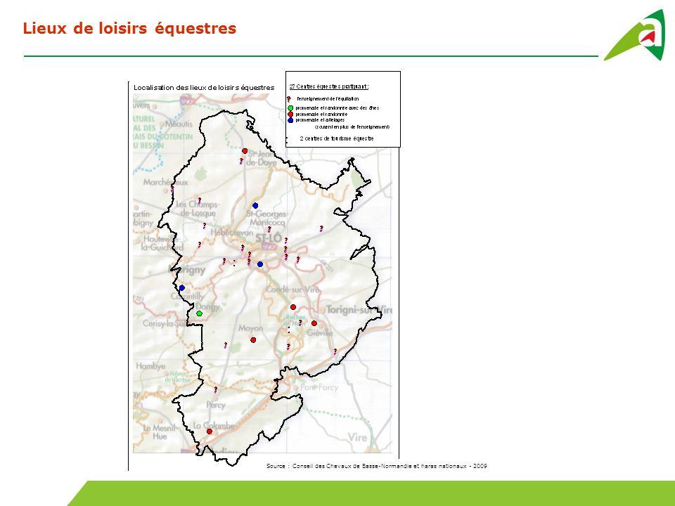 Source : Conseil des Chevaux de Basse-Normandie et haras nationaux - 2009 Lieux de loisirs équestres