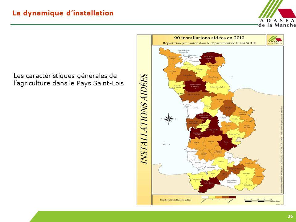 26 Les caractéristiques générales de lagriculture dans le Pays Saint-Lois La dynamique dinstallation