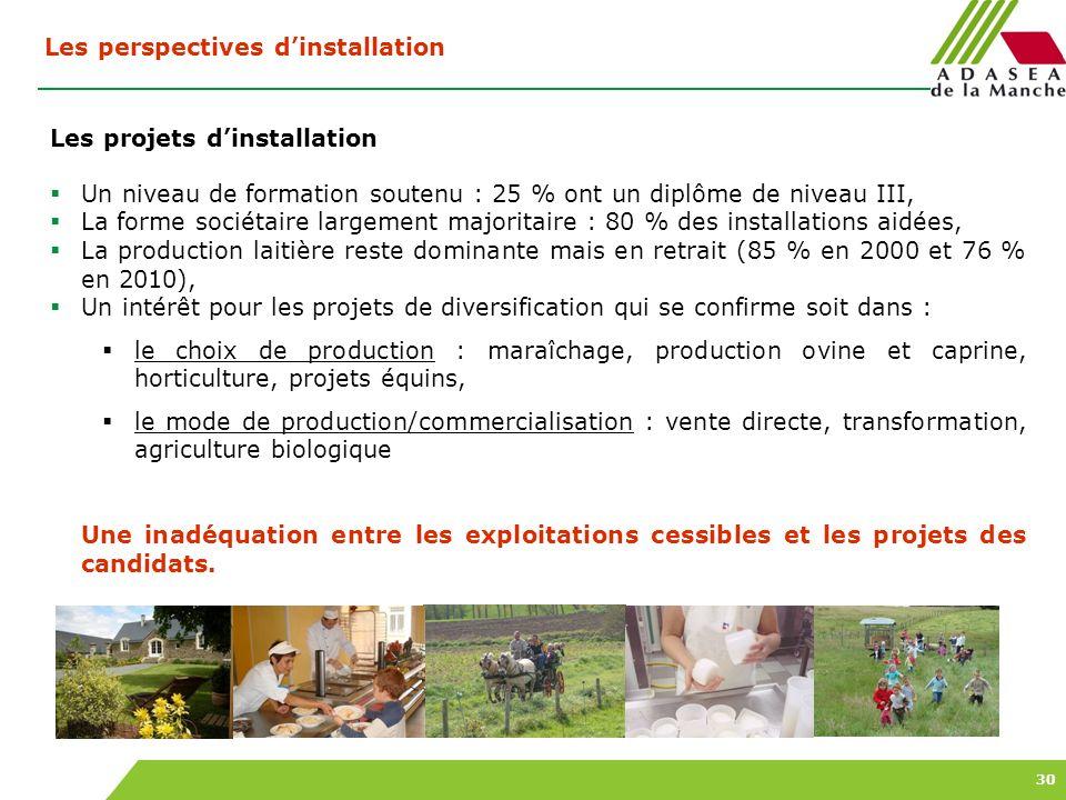 30 Les perspectives dinstallation Les projets dinstallation Un niveau de formation soutenu : 25 % ont un diplôme de niveau III, La forme sociétaire la