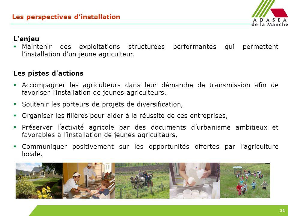 31 Les perspectives dinstallation Lenjeu Maintenir des exploitations structurées performantes qui permettent linstallation dun jeune agriculteur. Les